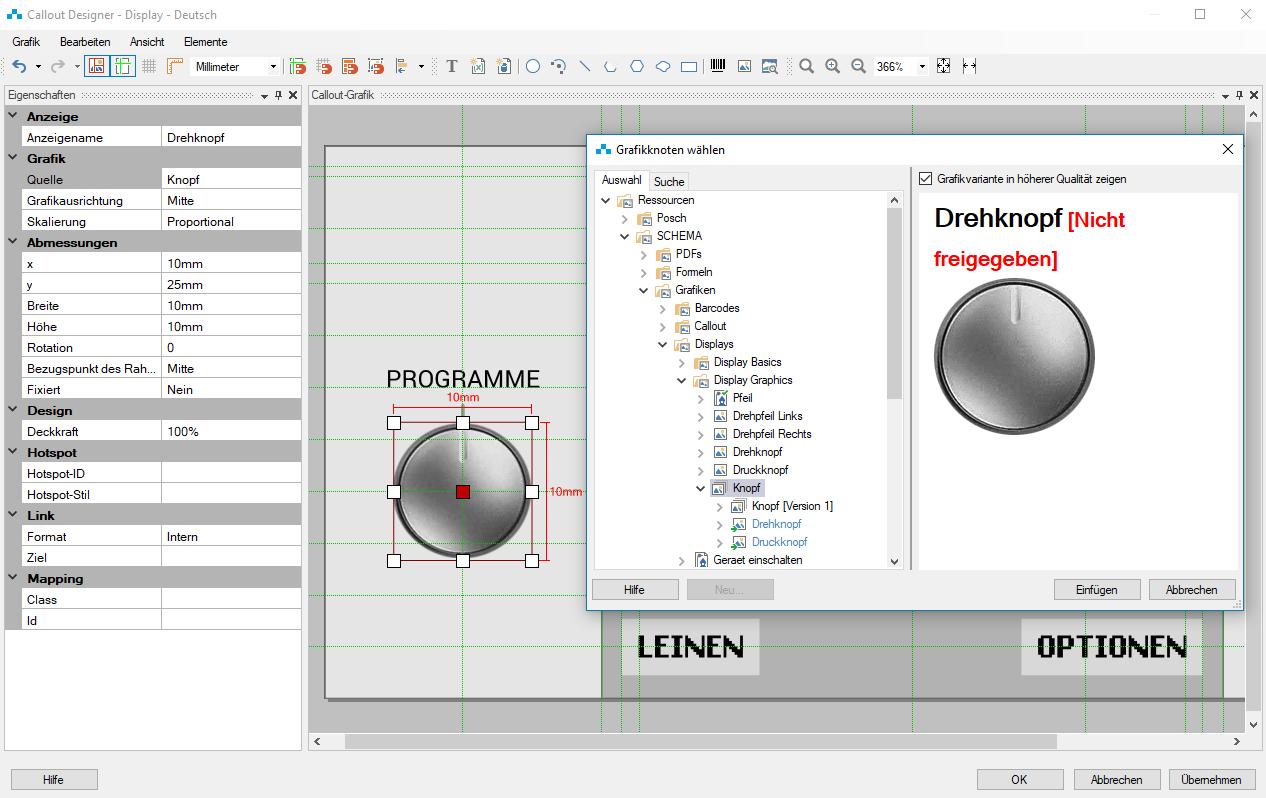 Grafikgruppe wird im Callout Designer referenziert