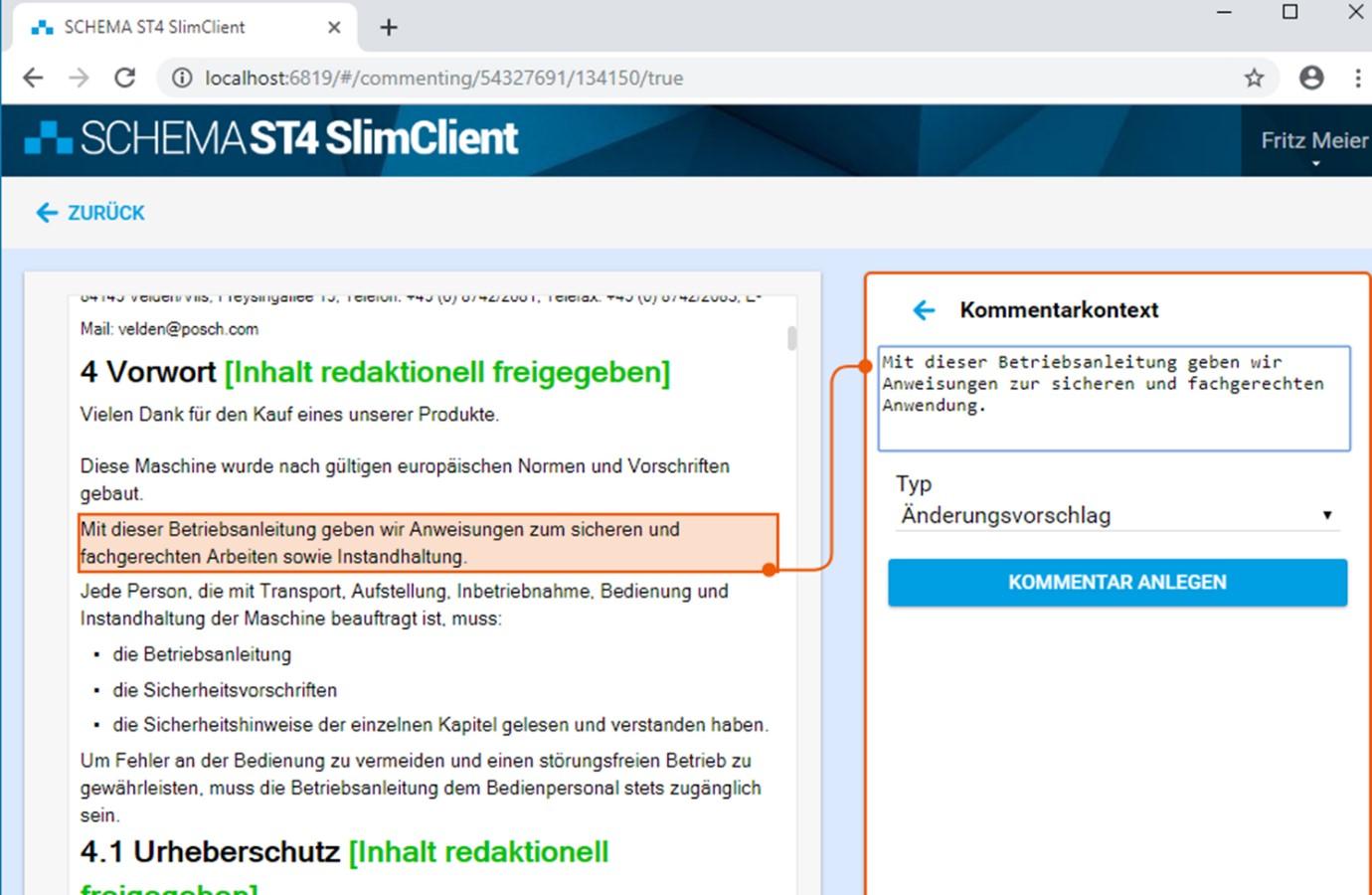Texte im SCHEMA ST4 SlimClient kommentieren